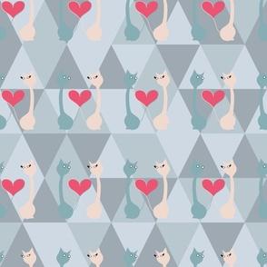 Valentine cats pastel