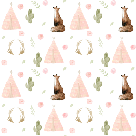 "4"" Blushing Foxes // White fabric by hipkiddesigns on Spoonflower - custom fabric"