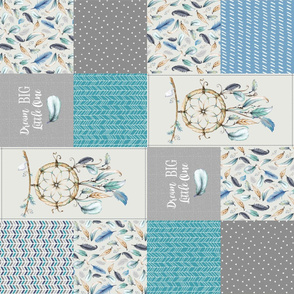 Dream Catcher Patchwork Quilt Top ROTATED – Dream Big Cheater Quilt Panel, Blue Teal Gray Eggshell