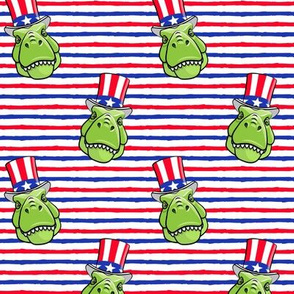 Patriotic Trex  - Tyrannosaurus rex dinosaur  - red & blue stripes  LAD19