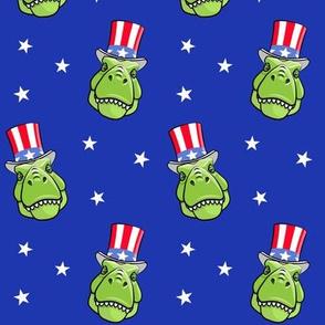 Patriotic Trex  - Tyrannosaurus rex dinosaur  - stars on blue LAD19