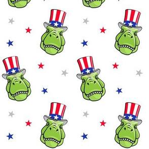 Patriotic Trex  - Tyrannosaurus rex dinosaur  - stars on white LAD19