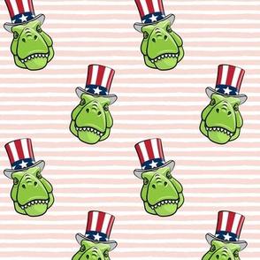 Patriotic Trex  - Tyrannosaurus rex dinosaur  -  pink stripes  LAD19