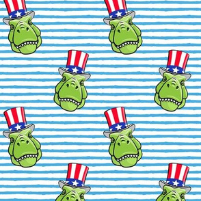 Patriotic Trex  - Tyrannosaurus rex dinosaur  - blue stripes  LAD19