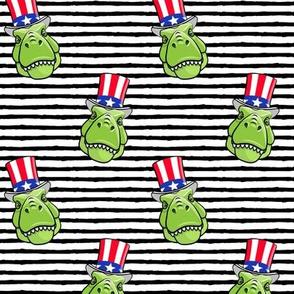 Patriotic Trex  - Tyrannosaurus rex dinosaur  - black stripes  LAD19