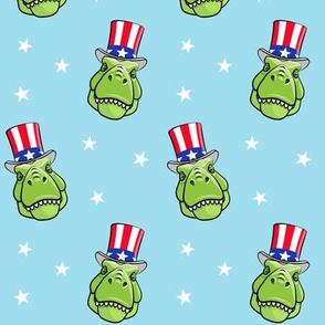 Patriotic Trex  - Tyrannosaurus rex dinosaur  - stars on light blue LAD19