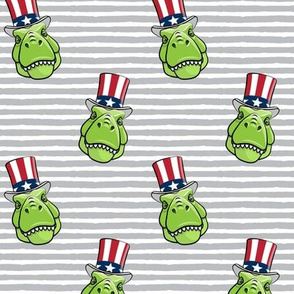 Patriotic Trex  - Tyrannosaurus rex dinosaur  -  grey stripes  LAD19