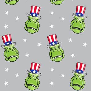 Patriotic Trex  - Tyrannosaurus rex dinosaur  - stars on grey LAD19