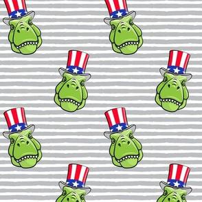 Patriotic Trex  - Tyrannosaurus rex dinosaur  -  grey stripes 2 LAD19