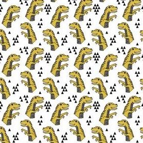 SMALL  - dinosaur fabric  // dinos dino prehistoric jurassic yellow dinosaur trex tyrannosaurus rex t-rex mustard yellow