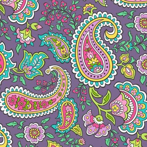 Bohemian Paisley on Dark Purple