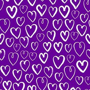 purple hearts fabric - purple heart fabric, valentines heart fabric, love hearts fabric, purple heart -  purple