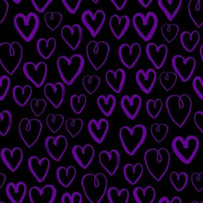 purple hearts fabric - purple heart fabric, valentines heart fabric, love hearts fabric, purple heart - black