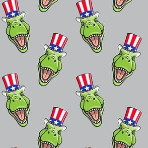 Patriotic Trex  - Tyrannosaurus rex dinosaur v2  - grey  LAD19