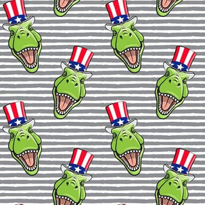 Patriotic Trex  - Tyrannosaurus rex dinosaur v2  - grey stripes  LAD19