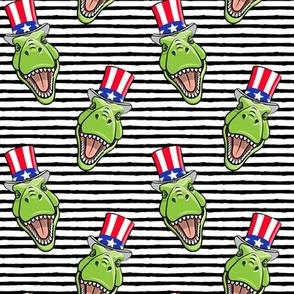 Patriotic Trex  - Tyrannosaurus rex dinosaur v2  - black stripes  LAD19