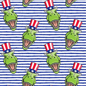 Patriotic Trex  - Tyrannosaurus rex dinosaur v2  - blue stripes  LAD19