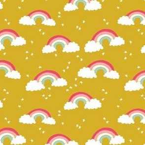 SMALL - rainbow // rainbows mustard yellow pink sky stars girls