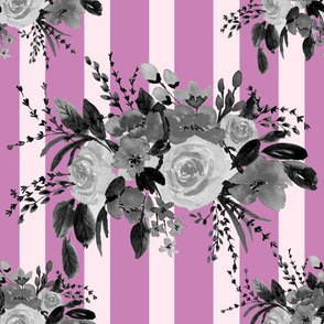 Floral Bouquet Watercolor in Pink Stripes