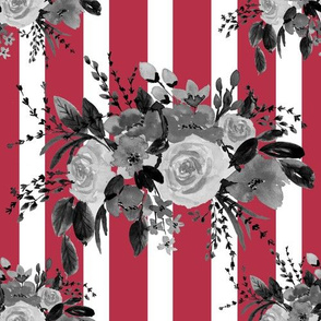 Floral Bouquet Watercolor in Red Stripes