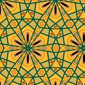 Bohemian Kaleidoscope in Golden Orange and Green