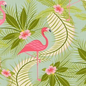 Flamingo Paradiso on Light Aqua