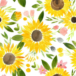 Sweet Sunflowers Field Watercolor Floral - LARGE
