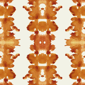 cognac orange on cream double inkblot