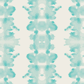 Aqua on Cream double inkblot