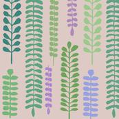 Floral - Skinny Ferns Wallpaper - Pastel Pink