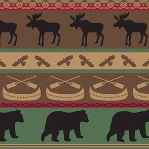 Moose Bears Canoe Stripe Large