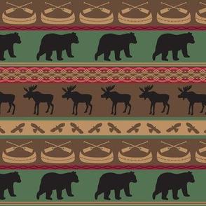 Moose Bears Canoe Stripe Medium