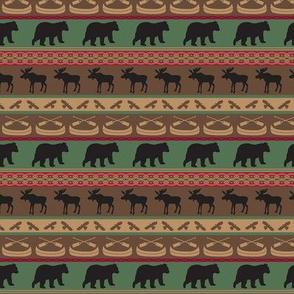 Moose Bears Canoe Stripe Small