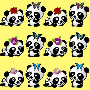 Playful Pandas - Yellow