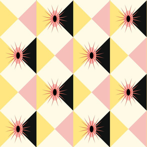 Atomic Sunburst Blocks Yellow Pink