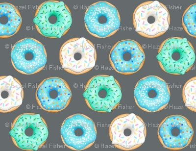 Iced Donuts Blue on dark grey halfinch_150_HazelFisherCreations