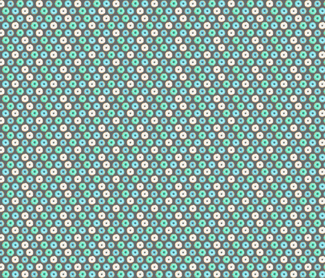 Iced Donuts Blue on dark grey halfinch_150_HazelFisherCreations fabric by hazelfishercreations on Spoonflower - custom fabric