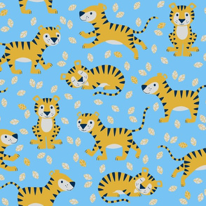 tigers and leaves - blue