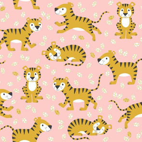tigers and leaves - pink