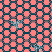 Geometric bees coral and dark teal