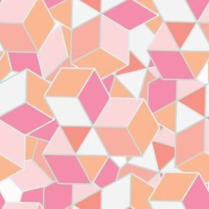 Graphic tossed geometric cube mosaic