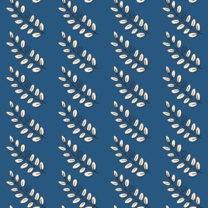 vertical rows of acacia leaves on blue