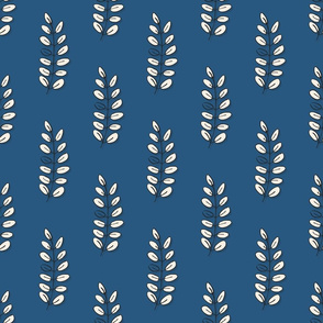 vertical acacia leaves on blue