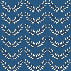 chevron rows of acacia leaves on blue