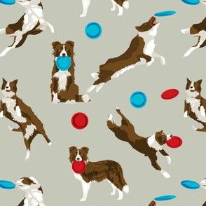 border collie disc dog - brown border collie, brown border collies, dog, dogs fabric, disc dog fabric