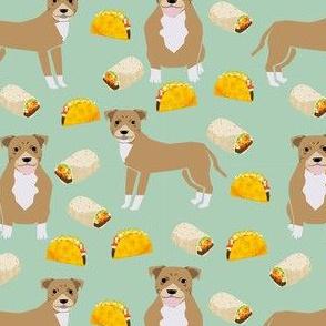 pitbull taco fabric - fawn pitbull fabric, dog taco fabric, taco fabric, dogs and burritos design - mint