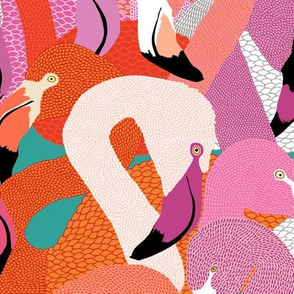 Flamingoes in Spring Hues - LARGE