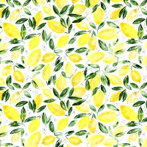 So luscious lemons, smaller scale || watercolor summer pattern
