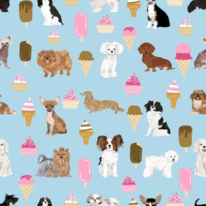 dogs dog fabric ice creams fabric cute dog fabric best ice creams fabric best dogs dog fabric - light blue
