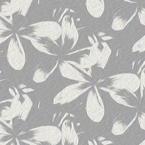 frangipani - gray - large - painting effect